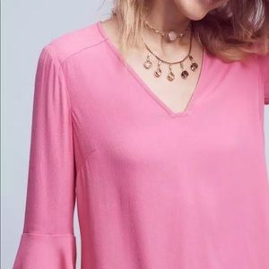 Anthropologie Maeve pink bell sleeve shift dress